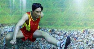 著名跨栏赛跑者刘xiang的蜡象 免版税图库摄影