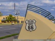 著名路线66签到土尔沙俄克拉何马-土尔沙-俄克拉何马- 2017年10月17日 库存照片