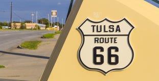 著名路线66签到土尔沙俄克拉何马-土尔沙-俄克拉何马- 2017年10月17日 免版税库存图片