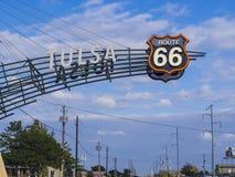 著名路线66签到土尔沙俄克拉何马-土尔沙-俄克拉何马- 2017年10月17日 免版税库存照片