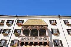 著名金黄屋顶(Goldenes Dachl)在因斯布鲁克,奥地利 免版税库存照片
