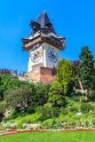 著名钟塔在格拉茨,奥地利 免版税库存图片