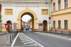 著名门在布拉索夫,罗马尼亚 库存照片