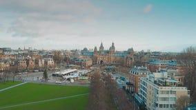 著名阿姆斯特丹博物馆处所或Museumplein,荷兰鸟瞰图  影视素材