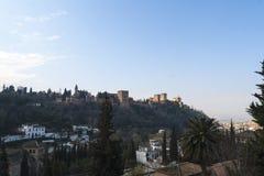 著名阿尔罕布拉宫,格拉纳达,西班牙的看法 库存照片
