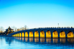 著名颐和园17曲拱桥梁 图库摄影