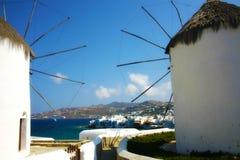 著名风车在米科诺斯岛海岛希腊 免版税库存照片