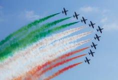 著名飞行frecce意大利小组tricolori 库存照片