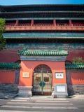 著名鼓塔地标的正门门在北京,中国 免版税库存图片