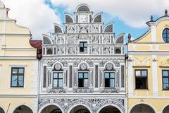 著名16世纪房子在Telc,建筑场面,联合国科教文组织 免版税库存图片
