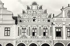 著名16世纪房子在Telc,建筑场面, colorle 库存照片