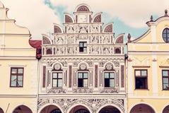 著名16世纪房子在Telc,联合国科教文组织 免版税图库摄影