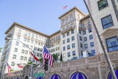著名贝弗利Wilshire旅馆在比佛利山-洛杉矶-加利福尼亚- 2017年4月20日 库存图片