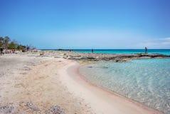 著名Elafonisi海滩,克利特,希腊 库存图片