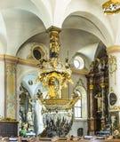 著名Fischerkanzel在Trunesco修道院里 库存图片