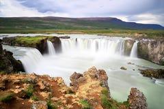 著名Godafoss瀑布在冰岛 免版税库存图片