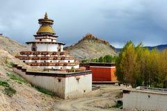 著名gyantse kumbum stupa西藏 免版税库存图片