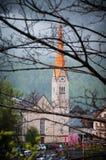 著名Hallstatt山村风景图片明信片视图有Hallstaetter的在奥地利阿尔卑斯, Salzkammer的区域看见 图库摄影