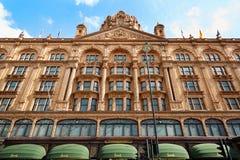 著名Harrods百货商店大厦在伦敦 免版税库存照片