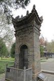 著名jianfu寺庙的古老石片剂,多孔黏土rgb 库存图片