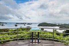 著名kujuku海岛在佐世保,九州俯视 库存图片