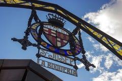 著名La Boqueria市场标志 库存图片