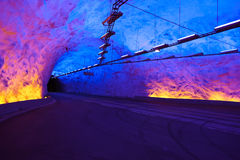 著名Laerdal隧道在挪威 库存照片