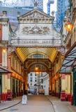 著名Leadenhall市场在伦敦英国 免版税库存照片