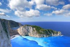 著名Navagio海滩, Zakynthos,希腊 库存照片