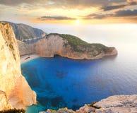 著名Navagio海滩, Zakynthos,希腊 免版税图库摄影