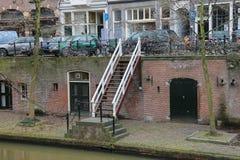 著名Oudegracht运河在乌得勒支, Nethe的历史的中心 库存图片