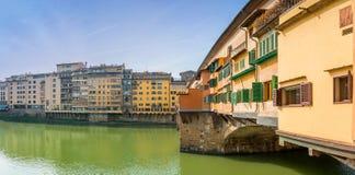 著名Ponte Vecchio和地平线在佛罗伦萨,托斯卡纳 免版税库存图片