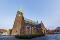著名Sankt Olai Kirke教会的外部 免版税库存图片