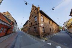 著名Sankt Olai Kirke教会的外部 免版税库存照片