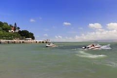 著名shuzhuanghuayuan庭院的快艇在鼓浪屿上的 免版税库存图片