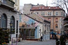 著名Skadarlija街道在贝尔格莱德 免版税库存照片