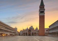 著名stMarco正方形在威尼斯,意大利 库存照片