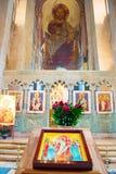 著名Svetitskhoveli大教堂内部,乔治亚 免版税图库摄影