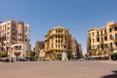 著名Talaat Harb广场在街市埃及 免版税库存图片