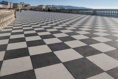 著名Terrazza Mascagni的看法在里窝那,托斯卡纳,意大利 免版税库存照片