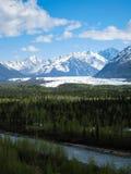 从葛伦高速公路的Matanuska冰川在阿拉斯加 库存图片