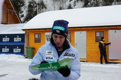 葛西纪明-从给题名的日本的一位举世闻名的跳台滑雪的运动员在维斯瓦,在跳台滑雪FIS的worldcup前的波兰 库存图片