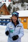 葛西纪明-从给题名的日本的一位举世闻名的跳台滑雪的运动员在维斯瓦,在跳台滑雪FIS的worldcup前的波兰 免版税库存图片
