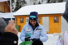 葛西纪明-从给题名的日本的一位举世闻名的跳台滑雪的运动员在维斯瓦,在跳台滑雪FIS的worldcup前的波兰 库存照片
