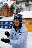 葛西纪明-从给题名的日本的一位举世闻名的跳台滑雪的运动员在维斯瓦,在跳台滑雪FIS的worldcup前的波兰 图库摄影