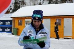 葛西纪明-从给题名的日本的一位举世闻名的跳台滑雪的运动员在维斯瓦,在跳台滑雪FIS的worldcup前的波兰 免版税图库摄影