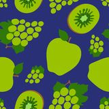 葡萄、猕猴桃和苹果无缝的样式 绿色甜果子 时尚设计 礼服、纺织品、帷幕或者亚麻布的食物印刷品 向量例证