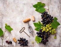 葡萄、酒和葡萄酒拔塞螺旋 免版税库存照片