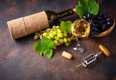 葡萄、酒和葡萄酒拔塞螺旋 免版税图库摄影