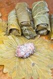 从葡萄叶子的准备dolma,剁碎,米 免版税库存照片